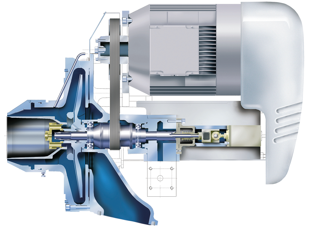 Sectional view of a rotary atomising burner (Saacke)