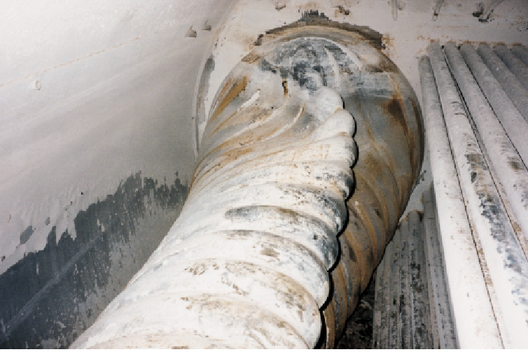 Layer formation in boiler with damage to flame tube