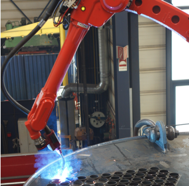 Mobile welding robot used in Bosch industrial boiler production